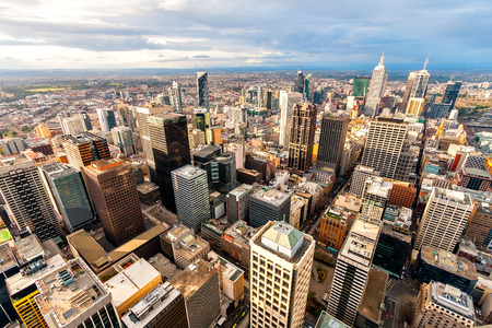 aerial: Panorama of Melbournes city center from a high point. Stock Photo