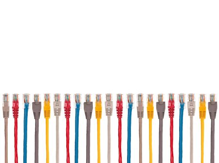 Multicolored internet cables are arranged parallel in a row. At the ends of the connectors RJ-45. Isolated on a white background.