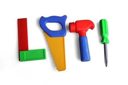 gereedschap, hamer, zaag, schroevendraaier, hoek, speelgoed, plastic,