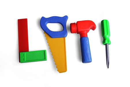 tools, hammer, saw, screwdriver, angle, toys, plastic, Standard-Bild