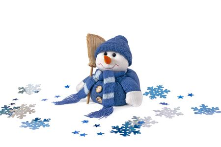 snowman and snowflakes on a white background photo