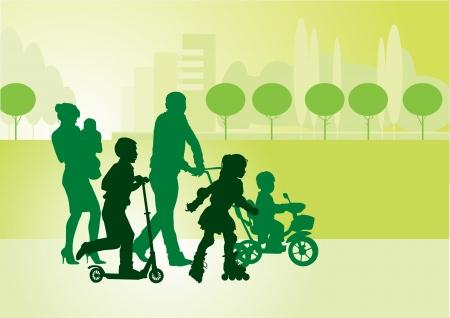 Familie op een wandeling met de kinderen in het stadspark