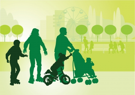 Family on a walk with the children in the urban park  Vector