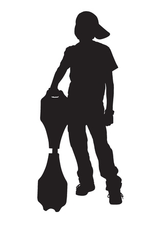 a young boy standing and holding a skateboard  Vector