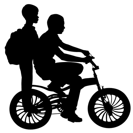 Two boys riding on a bicycle   Vector