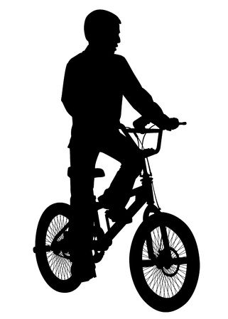 A boy rides a bicycle on a walk   Stock Vector - 20212485