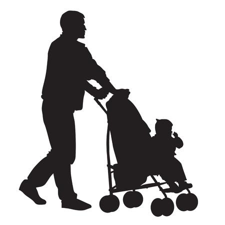 Padre caminando con un bebé en un cochecito.