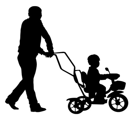 Father walking with a baby in a stroller. Vector