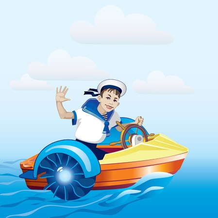 Boy riding in a boat. Water amusement. Boat trip. Vector