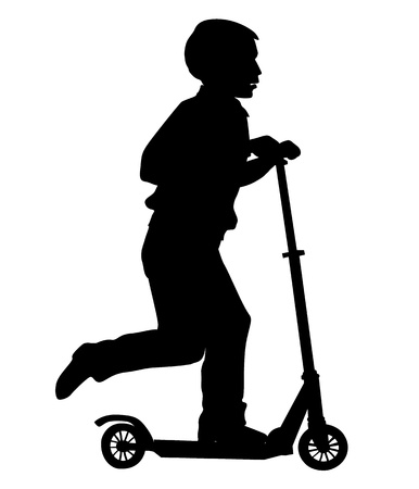 The boy rolls a scooter. Leisure and entertainment. Vector
