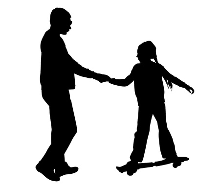Girl rides a skateboard. Girl on a walk with his father.  Vector