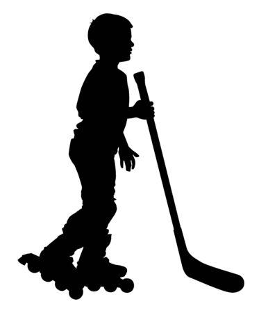 skate park: A boy with a stick on roller skates.
