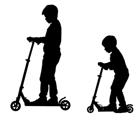 The boy rolls a scooter. Leisure and entertainment. Stock Vector - 20690403