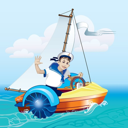 The boy in the boat under sail. Water amusement. Boat trip. Vector