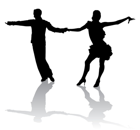 A couple in costumes dancing Latin dances. Vector