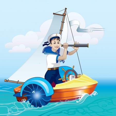 Een jongen staat in een boot die door een telescoop. Water vermaak. Boottocht. Stock Illustratie
