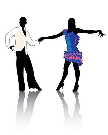 Een paar in kostuums dansen Latin dansen.