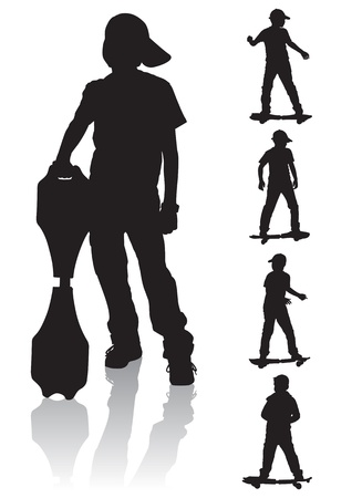 Young boy standing and holding a skateboard. The boy is rolling on a skateboard.  Vector