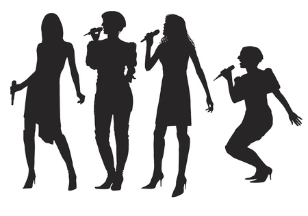 Girls singing with a microphone on the stage. Vector