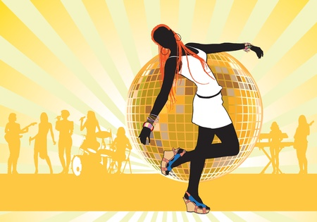 Girl dancing at a party at the club. The group performs on stage. Vector