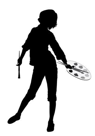 Een meisje staat met een palet, penselen en verf.