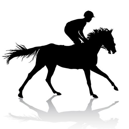 Jockey riding a horse. Horse races. Competition.  Vector