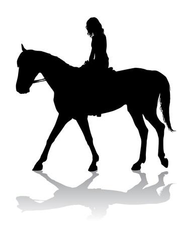running back: Girl riding a horse. Horse riding walk.