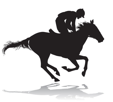 transportation silhouette: Jockey riding a horse. Horse races. Competition.