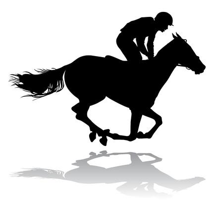 carreras de caballos: Jinete montado en un caballo. Las carreras de caballos. Competencia.