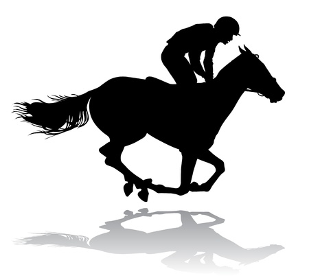 Jockey riding a horse. Horse races. Competition.