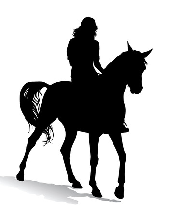 Girl riding a horse. Horse riding walk.  Vector