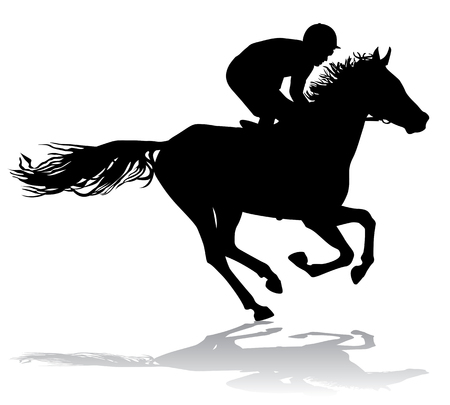 Jockey riding a horse. Horse races. Competition.  Vector