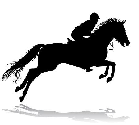 Rider. Jockey op een paard. Paardenrennen. Concurrentie. Stock Illustratie