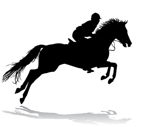 Rider. Jockey riding a horse. Horse races. Competition.  Vector