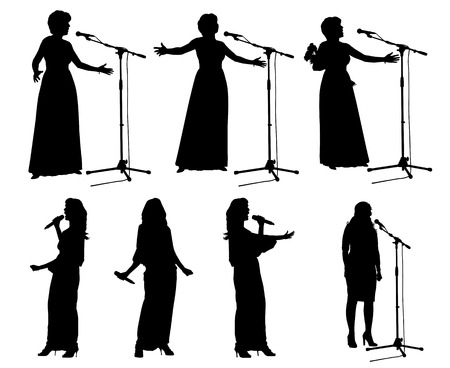 pop singer: Girls singing with a microphone on the stage Illustration