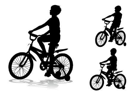 A boy rides a bike Vector