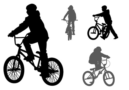 A boy rides a bicycle on a walk.  Vector