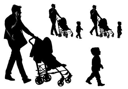 Vader wandelen met een baby in een kinderwagen.
