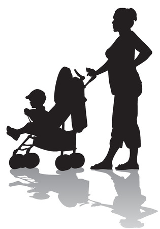 Mother rolls the baby in the stroller for a walk  Vector