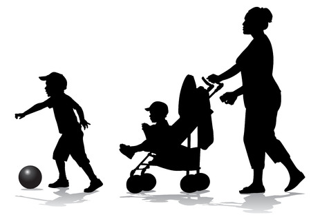 baby carriage: Mother walks with the kids and a stroller for a walk