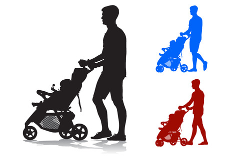 Father walking with a baby in a stroller