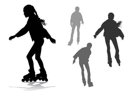 gente bailando: La muchacha rueda sobre patines de ruedas en un paseo