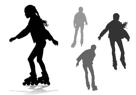 people dancing: La ragazza tira su pattini a rotelle su una passeggiata