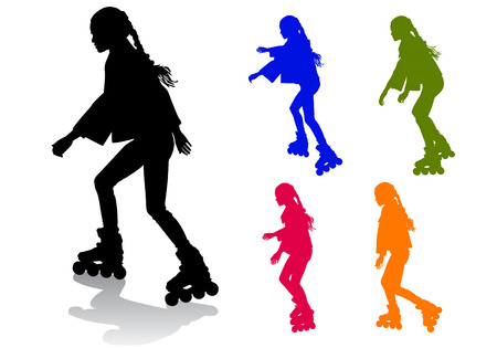 The girl rolls on roller skates on a walk Vector