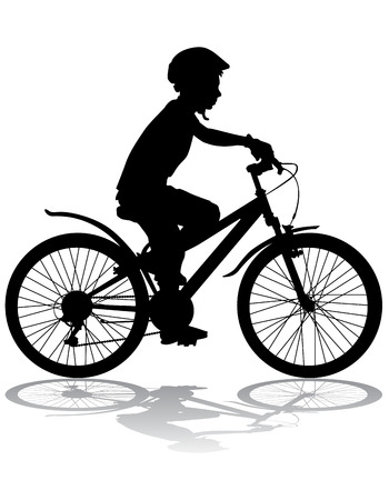black boy: A boy rides a bicycle on a walk. Illustration