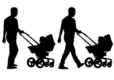 Vader wandelen met een baby in een kinderwagen