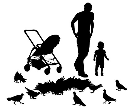 Father walks with the baby in the stroller. They feed the pigeons