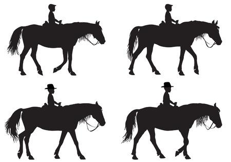 Muchacho que monta un caballo. Paseos a caballo a pie.