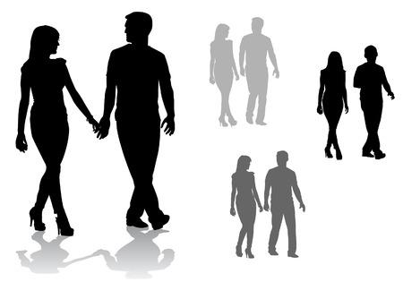 男と女。歩く若者のカップル