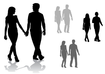 guy standing: Man and woman. Couple of young people walking